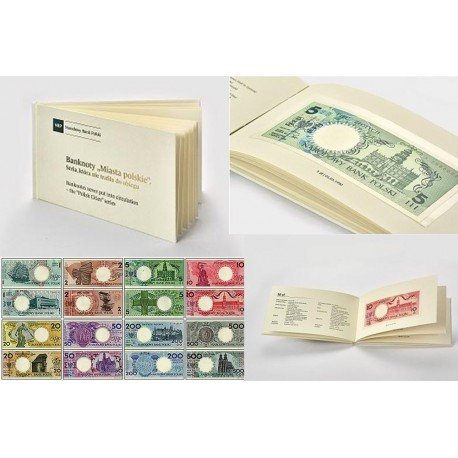 Zestaw banknotów Miasta polskie bez napisu nieobiegowe 1990