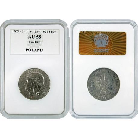 5 złotych, głowa kobiety, 1933, Au 58