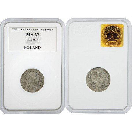 2 zł, Głowa Kobiety, 1933, MS67