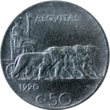 Włochy 50 centesimi, 1920, krawędź ząbkowana, rzadka