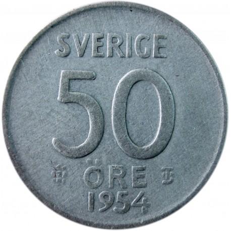 Szwecja 50 ore, 1954, srebro