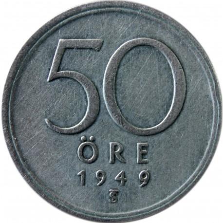 Szwecja 50 ore, 1949, srebro