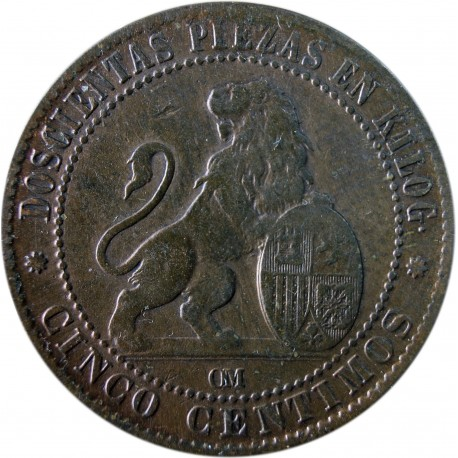 Hiszpania 5 centymów, 1870, stan 3
