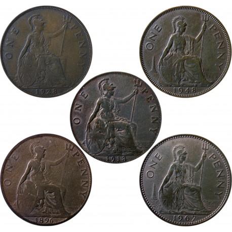 5 x Wielka Brytania 1 pens, 1896, 1913, 1928, 1948, 1967