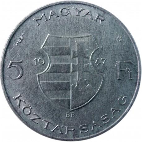 Węgry 5 forintów, 1947, srebro
