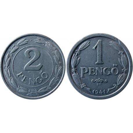 2 x Węgry 1941, 2 pengő + 1 pengő