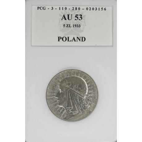 5 złotych, głowa kobiety, rok 1933, grading Au_53 (stan II)