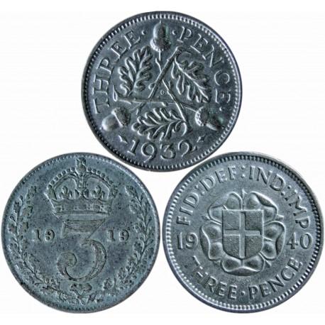 3 x Wielka Brytania 3 pensy, 1919, 1932, 1940