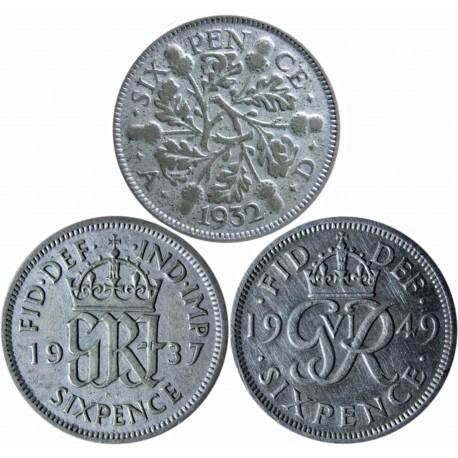 3x 6 pensów 1932, 1937, 1949