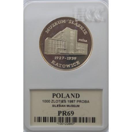1000 zł Muzeum Śląskie próba 1987, PR69 GCN