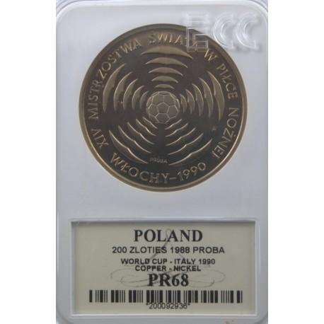 200 zł Mistrzostwa świata w Piłce Włochy 1990 próba, PR68 GCN
