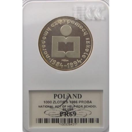 1000 zł Narodowy Czyn Pomocy Szkole próba 1986, PR69 GCN