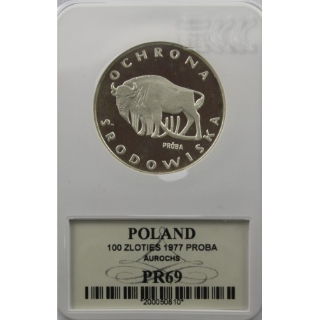 100 zł Żubr próba 1977, GCN PR69