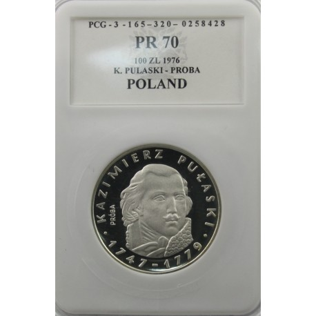 100 zł Kazimierz Pułaski próba 1976, PR70