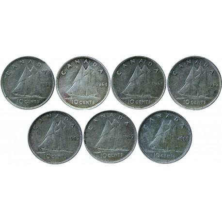 Kanada 10 centów, 1953-1964 - zestaw 7 srebrnych monet