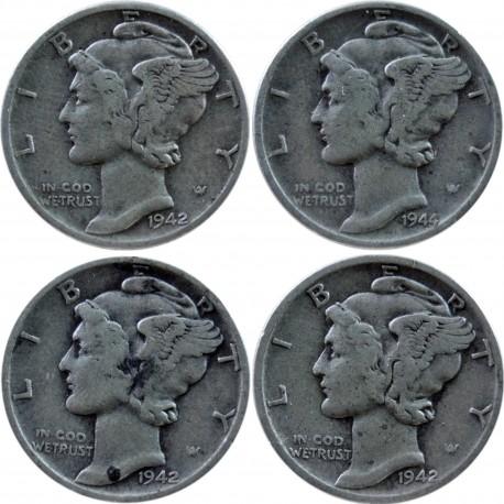 USA 1 dime, 1942-1944, zestaw 4 monet