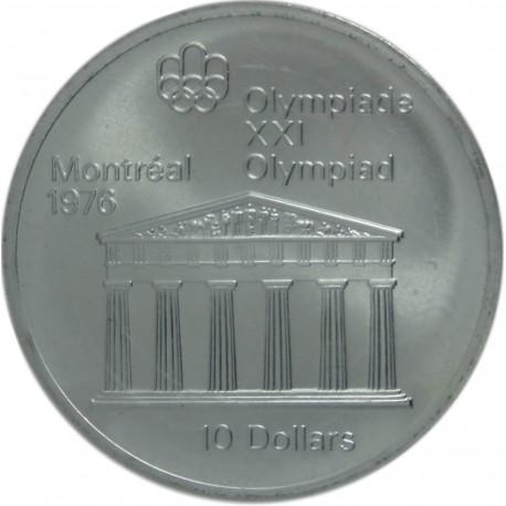 Kanada 10 dolarów, 1974 XXI Letnie Igrzyska Olimpijskie 1976 - Świątynia Zeusa