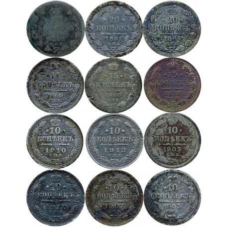 Rosja, zestaw 12 srebrnych monet kopiejkowych 1869-1912