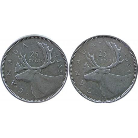 Kanada, zestaw 2 x 25 centów - 1963, 1964, srebro