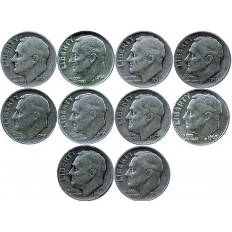 USA 1 dime 1948-1964 -zestaw 10 monet