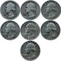 USA ¼ dollara, Quarter dollar, 1944-1964 -zestaw 7 monet