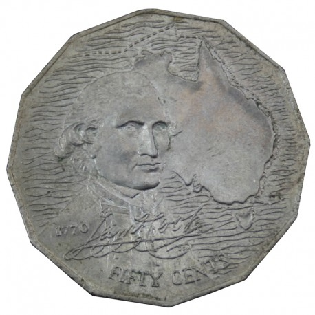 Australia 50 centów, 1970, 200 rocznica - Australijska podróż Kapitana Cooka