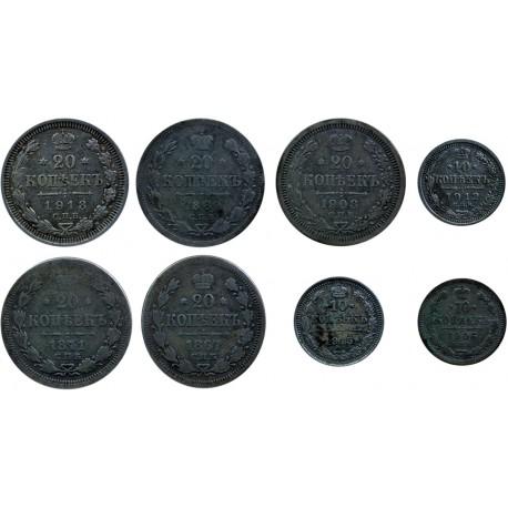 5 x 20 kopiejek, 3 x 10 kopiejek 1867-1915