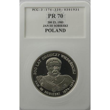 200 zł Jan III Sobieski 1983, PR70