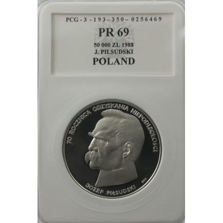 50000 zł J. Piłsudski 1988, PR69