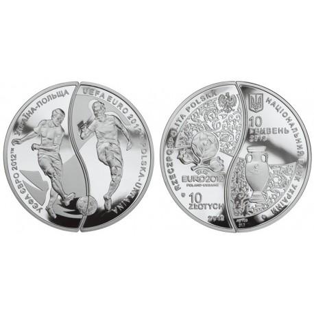 10 zł + 10 hr wspólny polsko-ukraiński zestaw monet na Euro 2012