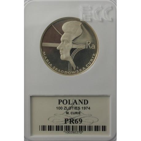 100 zł Maria Skłodowska - Curie 1974, GCN PR69