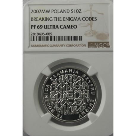 10 zł Enigma 2007, PF69,NGC Ultra Cameo