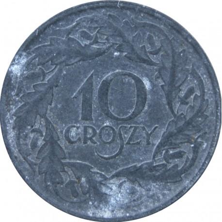 10 groszy okupacja niemiecka cynk 1923