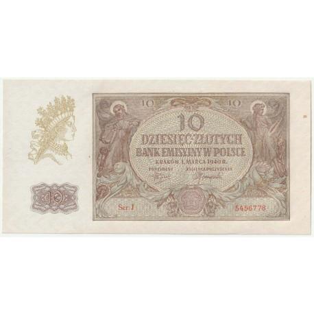 Banknot 10 złotych 1940 seria J, 5456778, stan 2