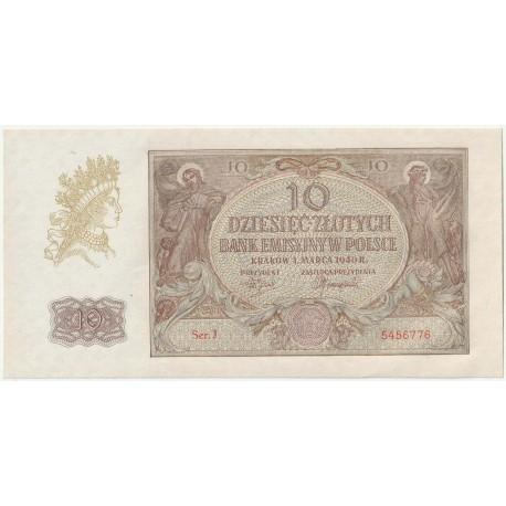 Banknot 10 złotych 1940 seria J, 5456776, stan 1-