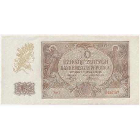 Banknot 10 złotych 1940 seria J, 5456787, stan 1-