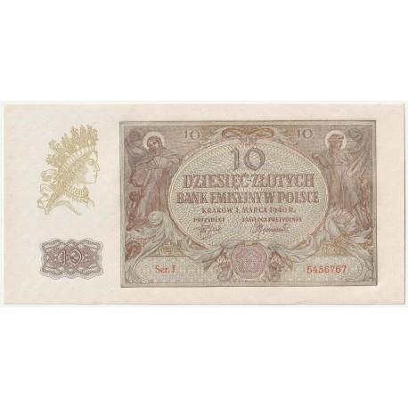 Banknot 10 złotych 1940 seria J, 5456767, stan 1-