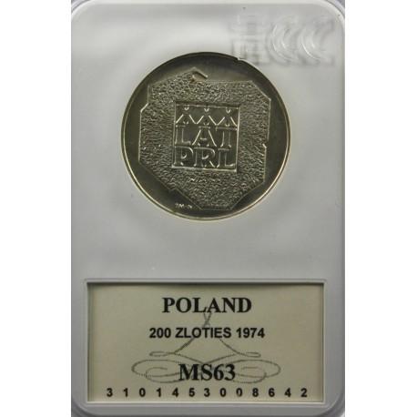 200 zł XXX lat PRL, MS63