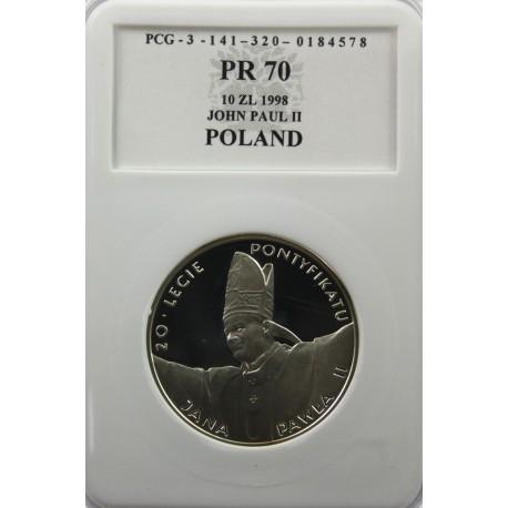 10 zł 20-lecie pontyfikatu Jana Pawła II, PR70