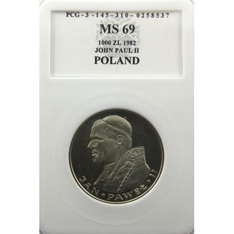 1000 zł Jan Paweł II, 1982 MS69