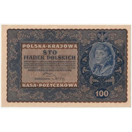 100 marek 1919, ID Seria H, Nr 671989, stan 2+