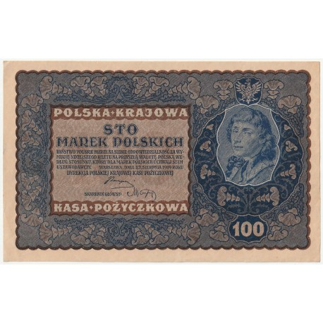 100 marek 1919, ID Seria M, Nr 586243, stan 2