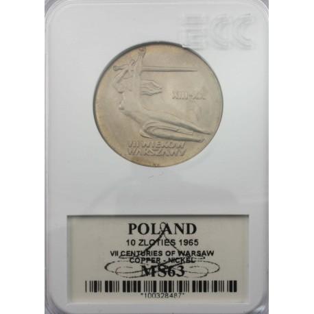 10zł VII wieków Warszawy, 1965, MS63