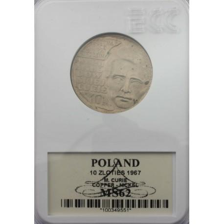 10zł Maria Skłodowska -Curie, 1967, MS62