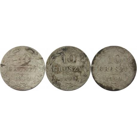 3 szt. x 10 groszy Królestwo Polskie 1840
