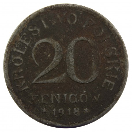20 Fenigów 1918 FF Królestwo Polskie, Stan 4
