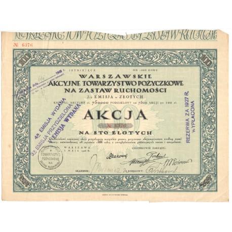 1 akcja Warszawskiego Akcyjnego Towarzystwa Pożyczkowego No. 6376